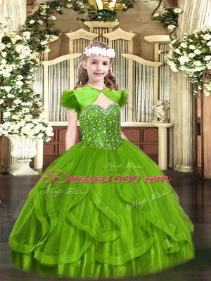 Charming Ball Gowns Straps Sleeveless Tulle Floor Length Lace Up Beading and Ruffles Pageant Dresses