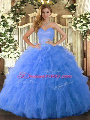 Blue Tulle Lace Up 15th Birthday Dress Sleeveless Floor Length Ruffles