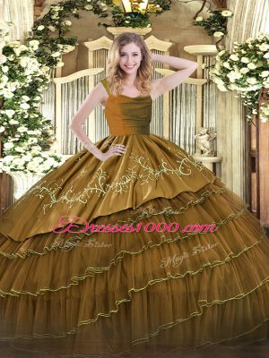 Sleeveless Organza and Taffeta Floor Length Zipper Sweet 16 Quinceanera Dress in Brown with Embroidery and Ruffled Layers
