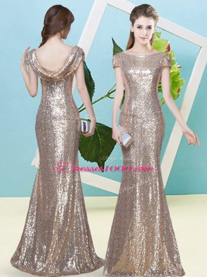 Champagne Scoop Zipper Sequins Prom Party Dress Cap Sleeves