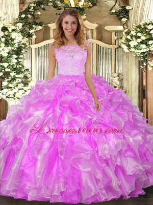 Lilac Clasp Handle Quinceanera Dress Lace and Ruffles Sleeveless Floor Length