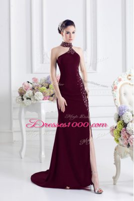 Shining Burgundy Sleeveless Sweep Train Beading Party Dress