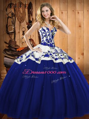 Luxurious Floor Length Ball Gowns Sleeveless Blue Quince Ball Gowns Lace Up