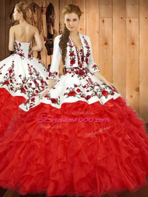 Sweetheart Sleeveless Tulle Quinceanera Dresses Embroidery and Ruffles Lace Up