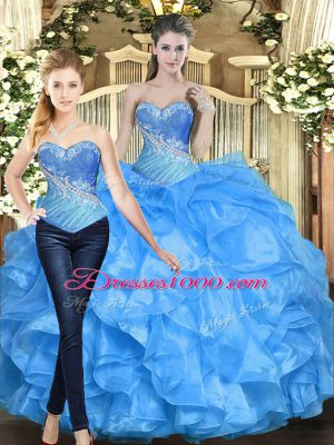 Delicate Organza Sleeveless Floor Length Quinceanera Dresses and Beading and Ruffles