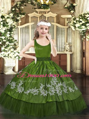 Fashion Olive Green Sleeveless Taffeta Zipper Little Girls Pageant Gowns for Party and Quinceanera