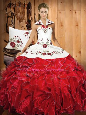 Floor Length White And Red Sweet 16 Dress Satin and Organza Sleeveless Embroidery and Ruffles