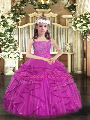Sweet Tulle Sleeveless Floor Length Winning Pageant Gowns and Beading and Ruffles