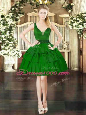 Dark Green V-neck Neckline Beading Teens Party Dress Sleeveless Lace Up