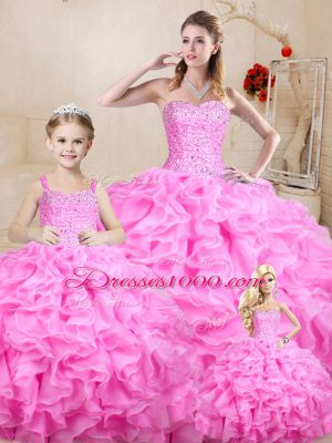 Fantastic Floor Length Lace Up Quinceanera Gown Rose Pink for Sweet 16 and Quinceanera with Beading and Ruffles