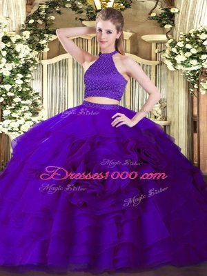 Purple Two Pieces Tulle Halter Top Sleeveless Beading and Ruffles Floor Length Backless 15 Quinceanera Dress