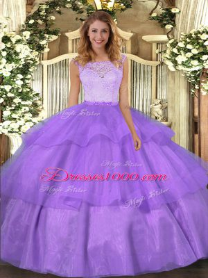 Fine Sleeveless Lace and Ruffled Layers Clasp Handle Vestidos de Quinceanera
