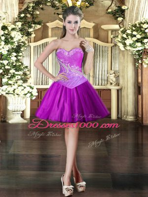 Custom Fit Purple Homecoming Dress Prom and Party with Beading Sweetheart Sleeveless Lace Up