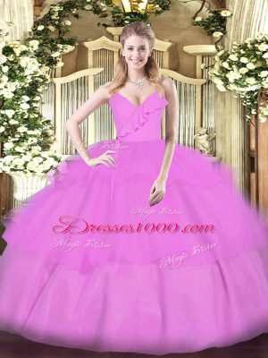 Lilac Sweet 16 Dress Military Ball and Sweet 16 and Quinceanera with Ruffled Layers Spaghetti Straps Sleeveless Zipper