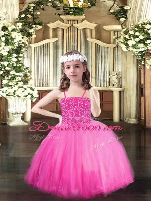 Rose Pink Lace Up Spaghetti Straps Beading Little Girl Pageant Gowns Tulle Sleeveless
