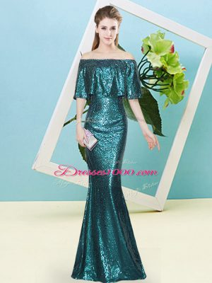 Exquisite Off The Shoulder Sleeveless Prom Dresses Floor Length Sequins Teal Sequined