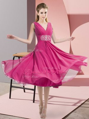 Flare Knee Length Hot Pink Quinceanera Dama Dress V-neck Sleeveless Side Zipper