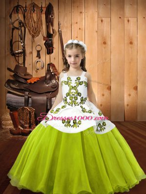 New Arrival Organza Straps Sleeveless Lace Up Embroidery Pageant Dress for Teens in Yellow Green
