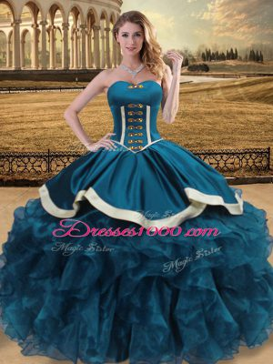Floor Length Teal Quinceanera Dresses Sweetheart Sleeveless Lace Up