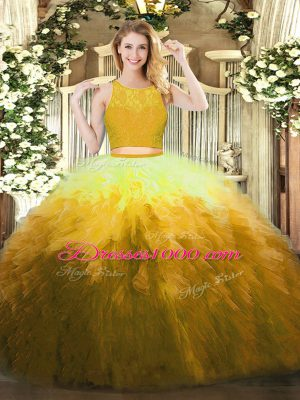 Comfortable Gold Ball Gowns Scoop Sleeveless Organza Floor Length Zipper Lace and Ruffles 15 Quinceanera Dress