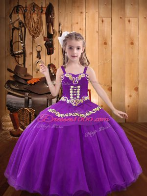 Most Popular Floor Length Eggplant Purple Little Girls Pageant Dress Organza Sleeveless Ruffles