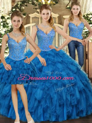 Floor Length Three Pieces Sleeveless Teal 15 Quinceanera Dress Lace Up