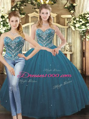 Elegant Floor Length Ball Gowns Sleeveless Teal Quinceanera Gown Lace Up