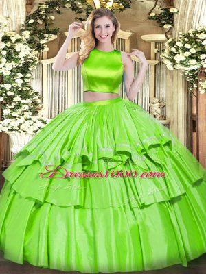 Ruffled Layers Quinceanera Gown Criss Cross Sleeveless Floor Length