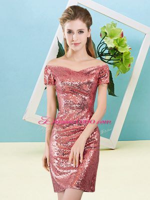 Mini Length Zipper Coral Red for Prom and Party with Sequins