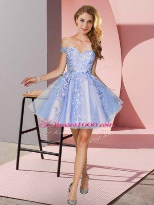 Lavender Sleeveless Appliques Mini Length Bridesmaid Dresses