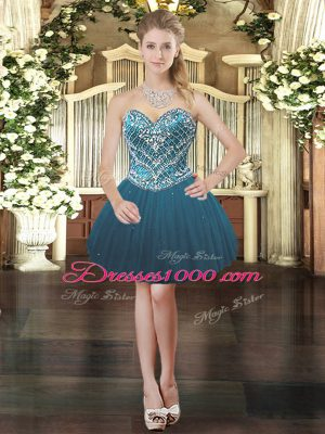 Sweetheart Sleeveless Lace Up Prom Dresses Teal Tulle