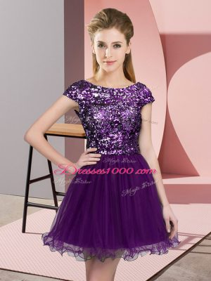 Admirable Dark Purple A-line Tulle Scoop Cap Sleeves Sequins Mini Length Zipper Bridesmaid Gown