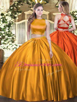 Beauteous Orange High-neck Neckline Ruching Sweet 16 Quinceanera Dress Sleeveless Criss Cross