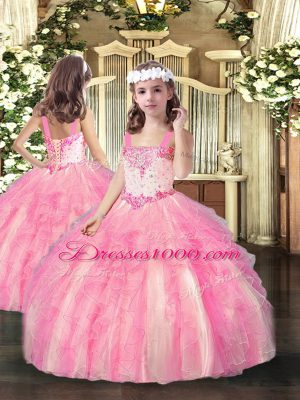 Floor Length Rose Pink Juniors Party Dress Straps Sleeveless Lace Up