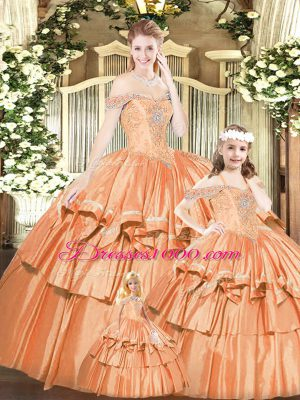 New Style Rust Red Off The Shoulder Lace Up Beading and Ruffles Quinceanera Gowns Sleeveless