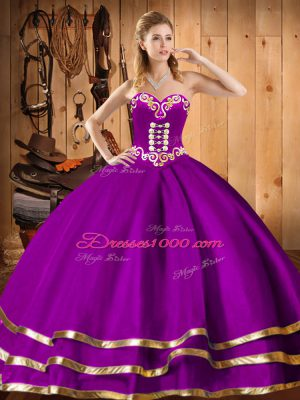 Smart Purple Organza Lace Up Sweetheart Sleeveless Floor Length Quinceanera Dresses Embroidery