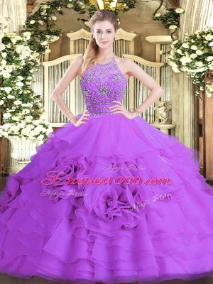 Eggplant Purple Tulle Zipper Ball Gown Prom Dress Sleeveless Floor Length Beading and Ruffled Layers
