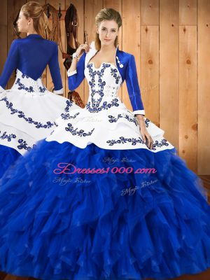 Admirable Ball Gowns Quince Ball Gowns Blue And White Strapless Satin and Organza Sleeveless Floor Length Lace Up