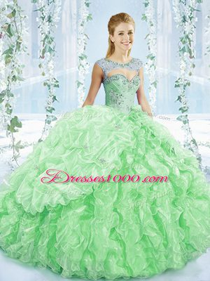 High End Apple Green Quinceanera Dress Sweetheart Sleeveless Brush Train Lace Up