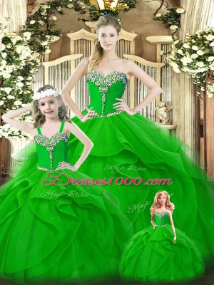 Flirting Sleeveless Lace Up Floor Length Beading and Ruffles Ball Gown Prom Dress