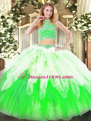 Sleeveless Floor Length Beading and Ruffles Backless Sweet 16 Dress with Multi-color