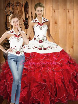 Satin and Organza Sleeveless Floor Length Sweet 16 Dresses and Embroidery and Ruffles
