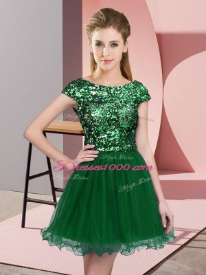 Mini Length Dark Green Dama Dress for Quinceanera Tulle Cap Sleeves Sequins