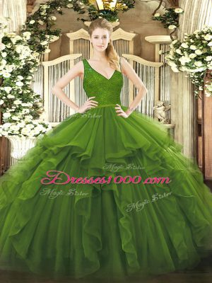 Glittering V-neck Sleeveless Organza 15 Quinceanera Dress Beading and Lace and Ruffles Backless