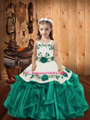 Amazing Teal Sleeveless Embroidery and Ruffles Floor Length Pageant Dress for Teens