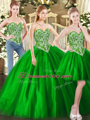 Enchanting Floor Length Green 15 Quinceanera Dress Tulle Sleeveless Beading