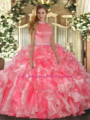 Glittering Halter Top Sleeveless Quinceanera Dress Floor Length Beading and Ruffles Hot Pink Organza