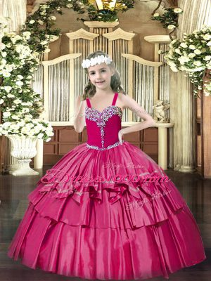 Hot Pink Straps Lace Up Beading and Ruffled Layers Girls Pageant Dresses Sleeveless