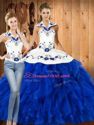 Customized Blue And White Sleeveless Floor Length Embroidery and Ruffles Lace Up Sweet 16 Dress