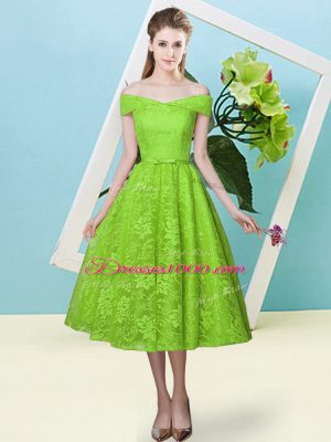 Yellow Green Empire Bowknot Quinceanera Court Dresses Lace Up Lace Cap Sleeves Tea Length